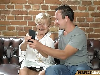 taking pictures with the grandma