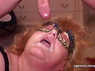 Redhead granny anal and DP amateur