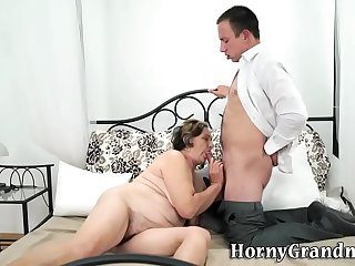 Gran with hairy pussy sucks and fucks