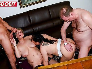 LETSDOEIT  Chubby German Grannies Get Drilled In Foursome Sex
