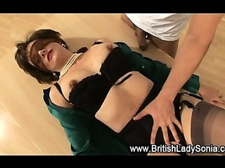Mature stockings slut sucks hard cock