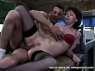 French Mature Lady In The Warehouse