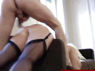 Sexy european mature in stockings gets fucked doggystyle
