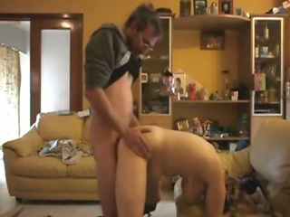 Nerdy Guy Has Wild Doggystyle, Masturbation And Missionary Sex On The Sofa