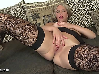 Older twat is constricted and hawt as this babe masturbates