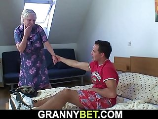He picks up busty old grandma