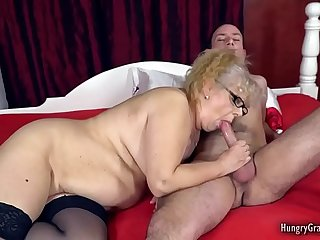 Busty granny cant resist a big hard cock