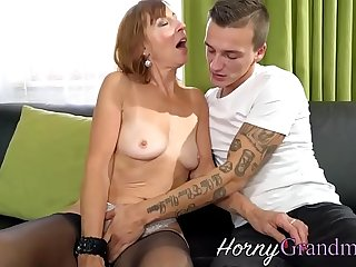 Stockings granny spermed
